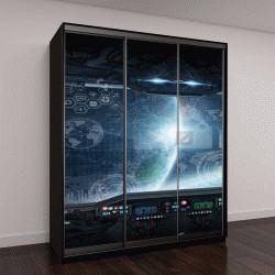 """Шкаф купе с фотопечатью """"Вид из окна на космическое пространство """""""