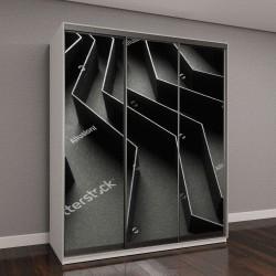 """Шкаф купе с фотопечатью """"Абстрактный фон с черными полосками из бумаги"""""""