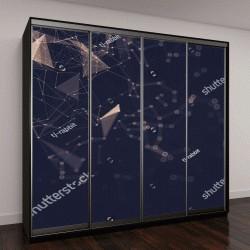 """Шкаф купе с фотопечатью """"Абстрактные пространства низкополигональных темный фон с соединительными точками и линиями"""""""