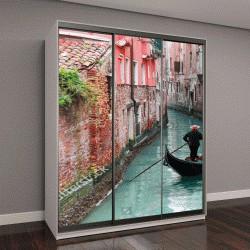 """Шкаф купе с фотопечатью """"плавание на гондоле через зеленый канал в водах Венеции, Италия"""""""