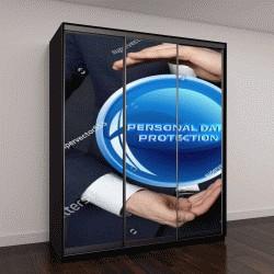 """Шкаф купе с фотопечатью """"В руках бизнесмена, неоновый круг с надписью:защита персональных данных """""""