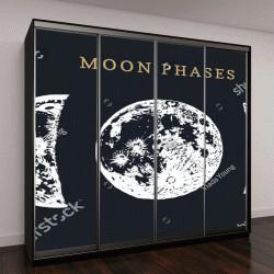 """Шкаф купе с фотопечатью """"Фазы Луны на черном фоне"""""""