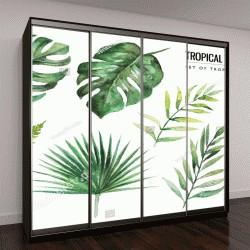 """Шкаф купе с фотопечатью """"тропический цветочный орнамент с зелеными листьями """""""