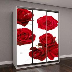 """Шкаф купе с фотопечатью """"коллаж из красных роз на белом фоне"""""""