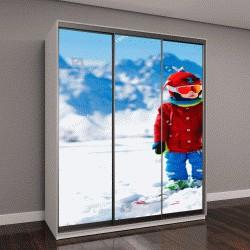 """Шкаф купе с фотопечатью """"Ребенок катается на лыжах в горах"""""""