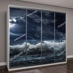 """Шкаф купе с фотопечатью """"темный океан в шторм"""""""