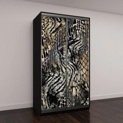 """Шкаф купе с фотопечатью """"нимал печати, абстрактные текстуры леопарда,леопард фон"""""""