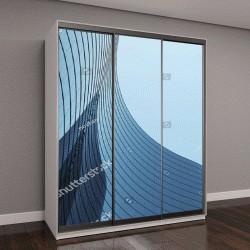 """Шкаф купе с фотопечатью """"3Д стимулировать высотного стеклянного здания кривой и темной окна стали на голубое ясное небо фон,бизнес-концепция будущего архитектура,поиск на угол здания угол"""""""